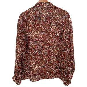 Nine & Co. Tops - NineWest paisley print sheer long sleeve blouse